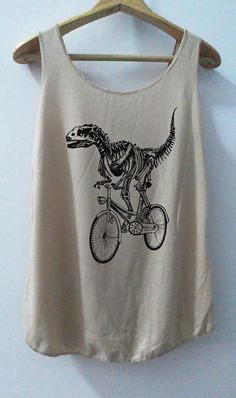 Items similar to Funny Fossil Classic Bike Tshirt Pop Punk Rock T Rex Tank  Top Dinosaur Vest Women T shirt T-Shirt SizeS 676d48b50b795
