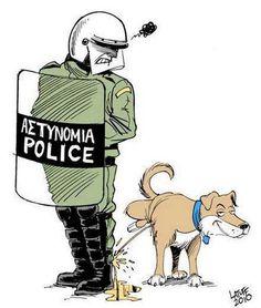 Riot dog z Athén: Loukanikosova aktivistická kariéra je u konce Comedy Tragedy Masks, Football Casuals, Thats All Folks, Street Dogs, Cartoon People, Football Art, Cute Creatures, Political Cartoons, Dog Art