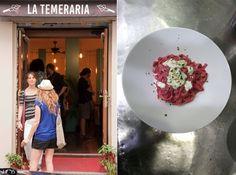 entrada del restaurante y uno de sus platos de pasta