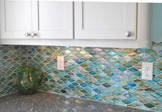 tiles Backsplash shimmering beach tile for a beach kitchen, defines the mood of the house in this open concept floor plan at the beach . Kitchen Redo, Kitchen Backsplash, Kitchen Remodel, Island Kitchen, Kitchen Ideas, Nautical Kitchen, Beach House Kitchens, Open Concept Floor Plans, Beach House Decor