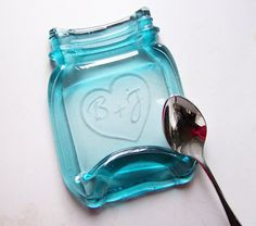 Personalized Etched Heart and Initials on a Vintage Melted Mason Jar, monogrammed spoon rest, soap dish, with gift box