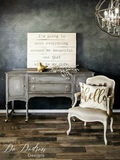 Refinishing furniture Grey - Eye Catching Grey Sideboard That Will Change Your Mind About Paint Chalk Paint Furniture, My Furniture, Country Furniture, Colorful Furniture, Repurposed Furniture, Furniture Projects, Furniture Makeover, Vintage Furniture, Furniture Design