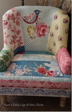 Patchwork Chair from Hobby Lobby | Was $600 Marked Down To $200! | www.jannolson.blogspot.com