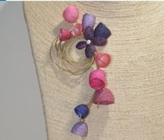 Pink-purple natural colored with a white pearl.Unique art jewelry for smart and creative looks. Brooches Handmade, Handmade Flowers, Flower Jewelry, Jewelry Art, Pearl White, Unique Art, Pink Purple, Belly Button Rings, Craft Supplies