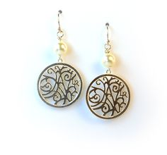 Sterling Silver Filigree Earrings with Pearl
