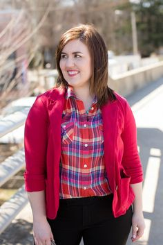 Bright & Cheerful // bright plaid // red blazer // black pants // nude wedges