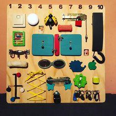 Sensory Board busy Board Montessori educational toy activity Board CUBUS The Montessori Baby, Montessori Activities, Infant Activities, Sensory Boards, Activity Board, Busy Board, Developmental Toys, Fine Motor Skills, Educational Toys