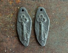Rustic Key Charms Handmade Handcast Pewter Metalwork by Inviciti