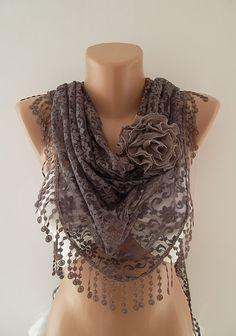 Elegance Scarf - Moca Brown Scarf  - Lace Scarf - Shawl - Headband - Women's  Fashion Tringle Scarf
