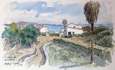 Aquarel·la 26 x 14 cm. Watercolor Sketch, Menorca, Urban Sketching, Sketches, Ink, Landscape, Gallery, Painting, Arches