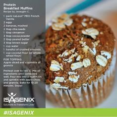 Mouth Watering Isagenix Main Course ideas to keep you satisfied protein-breakfast-muffin isagenix recipes Breakfast And Brunch, Protein Breakfast, Breakfast Muffins, Protein Muffins, Protein Foods, Protein Recipes, Healthy Recipes, Protein Smoothies, Protein Bars