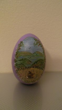 Hand painted egg lake
