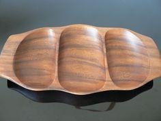Danish Modern Teak serving Tray/ mid century wood dish kitchenware. $34.99, via Etsy.