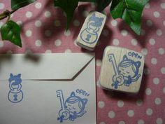 【ハンドメイド】消しゴムはんこ『封筒に鍵猫』 Handmade stamp ¥200円 〆03月24日