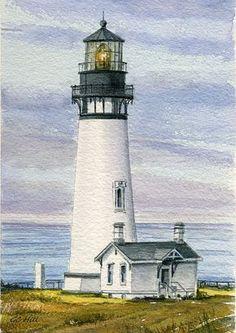 Yaquina Head Lighthouse Oregon. Pacific shades of blue mauve