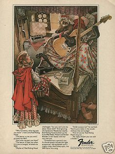 GREAT art! 1976 FENDER Ad - Little Red Riding Hood
