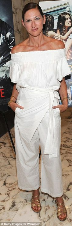 Keeping it simple: Jenna Lyons went for a Grecian-inspired look...