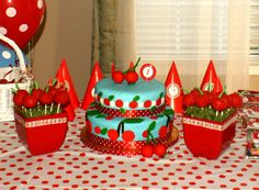 Cherry theme party table - cake and cake pops