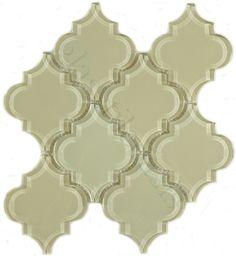 Pacific Tile Company  Bathroom, Unique Shapes, Ornamental, Glossy, Cream/Beige, #Glass_tiles
