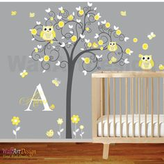 Children Wall Decal Girls Nursery Vinyl Wall Stickers Flowers Owls Curl Tree Butterflies Custom Monogram
