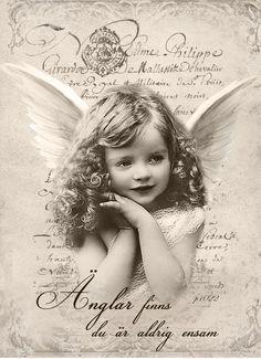 """New vintage angel swedish """"Änglar finns du är aldrig ensam"""" Digital collage P1022 free for personal use ..."""