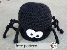 Free spider beanie crochet pattern.