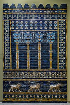The reassembled Throne Room facade from Nebuchadnezzar II's Babylon dating to around 600BC, as reconstructed in Berlin's Pergamon Museum, complete with Babylonian Lions.    Nebuchadnezzar II (630-562 BC) is best known for his construction of the ziggurat of Babylon, better known as the Tower of Babel, the Hanging Gardens and the Ishtar Gate, but it was his military actions that gave rise to his ephitet of The Destroyer of Nations.