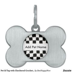 Pet Id Tag with Checkered Crochet Style