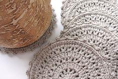 Купить Коврик для любимой кружки (6 шт) - подставка под кружку, лен, серый лен