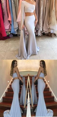 Special Two Piece One Shoulder Long Sleeves Floor Length Grey Mermaid Prom Dress Prom Dresses Two Piece, Ball Dresses, Ball Gowns, Evening Dresses, Formal Dresses, Party Dresses, 1950s Dresses, Bridesmaid Dresses, Long Prom Dresses
