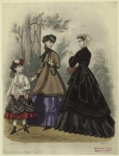 Women and a girl outdoors, England, 1868