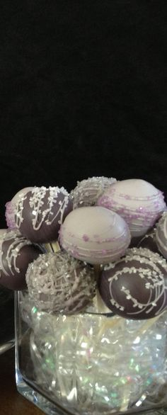 Purple, lilac and gray cake pops by Haute Pop Couture