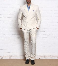 Cream Double Breasted Silk Linen Two Piece Suit