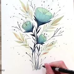 """Flowers are the music of the ground. From earth's lips spoken without sound"" … ""Blumen sind die Musik des Bodens. Watercolor Painting Techniques, Watercolour Tutorials, Watercolor Art, Simple Watercolor Paintings, Simple Watercolor Flowers, Watercolour Drawings, Watercolor Flowers Tutorial, Watercolour Illustration, Watercolor Pictures"