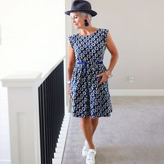 Summer dress with straw fedora and sneakers