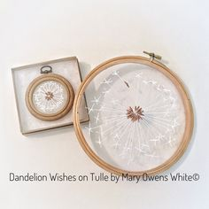 Just finished these Dandelion hoops on tulle.  After embroidering many of these Dandelions in linen and cotton, I thought why not try tulle? The effect of light and shadow is amazing!