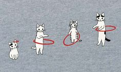 love these kitties!! (I could totally see my cats hula hooping when I wasn't around... lol!)