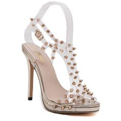 $20.52 Party Women's Sandals With Rivet and Transparent Design