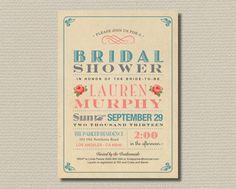 Printable Bridal Shower Invitation - Sweet vintage poster design with paper background (BR06) on Etsy, $18.00