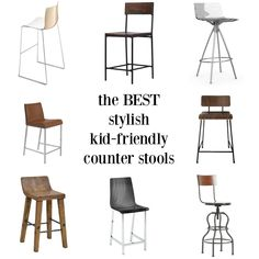 A roundup of the very best stylish kid-friendly barstools. You dont have to sacr. A roundup of the very best stylish kid-friendly barstools. You dont have to sacrifice style in a house with children! - Counter Stools - Ideas of Counter Stools Kitchen Island Chairs With Backs, Counter Stools With Backs, Island Stools, Cool Bar Stools, Stools For Kitchen Island, Modern Bar Stools, Balcony Table And Chairs, Bar Stool Chairs, Lounge Chairs