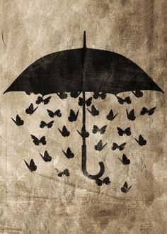 by seam less - funny image..... steel canvas Illustration umbrella butterflies