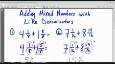Noel Morales, M. will teach your child how to add mixed numbers with the same denominators in this grade math lesson. Connect the Dots Learning is a f. Number Worksheets Kindergarten, Cursive Writing Worksheets, Fractions Worksheets, First Grade Worksheets, Adding Mixed Fractions, Simplifying Algebraic Expressions, Learning Numbers, 4th Grade Math, Math Lessons