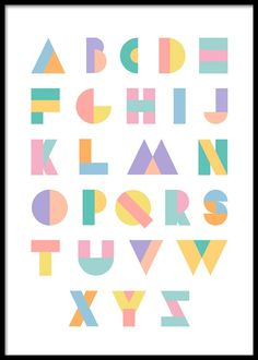 toy poster Geometric Alphabet Poster in the group Prints / Kids posters at Desenio AB Alphabet Poster, Hand Lettering Alphabet, Typography Letters, Cool Fonts Alphabet, Alphabet Design, Lettering Tutorial, Lettering Design, Gold Poster, Bullet Journal Art