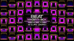 Beat Magenta Box Video Animation | 12 clips | Full HD 1920×1080 | Looped | H.264 | Can use for VJ, club, music perfomance, party, concert, presentation | #3d #box #colorful #dance #disco #geometric #glow #loop #magenta #music #pattern #rave #sequence #vj #wall