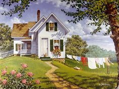 Summer Breeze – can't wait and its not even winter! Summer Breeze – can't wait and its not even winter! Country Art, Country Life, Life Paint, Country Scenes, Thomas Kinkade, Naive Art, Summer Breeze, Beautiful Paintings, Farm Life