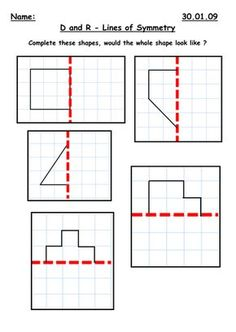 <p>Children are to complete the shape along the line of symmetry. This is aimed at a mixed ability year 3 class. There are 2 sheets for differentiation wit...