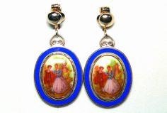 Fragonard Courtship Drop Earrings with Bezel by TheVintageBlingBox, $48.00
