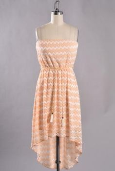 sincerely sweet Dress - Beachside Resort Strapless Chevron Pattern Embroidered High Low Dress in Peach Hi Low Dresses, Beach Dresses, Cute Dresses, Cute Outfits, Dresses For Work, Summer Dresses, Nautical Dress, Chevron Dress, Coral Dress