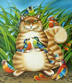 """""""Un favori des oiseaux"""" par Asya Belova Klimt, Art Nouveau, Art Mignon, Cat Work, Cute Paintings, Art Et Illustration, Cute Art, Painting & Drawing, Cats And Kittens"""