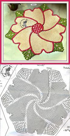 "КОВРИК ""СПИРАЛЬНЫЙ ЦВЕТОК"" КРЮЧКОМ Crochet Doily Rug, Crochet Dollies, Form Crochet, Crochet Tablecloth, Crochet Diagram, Crochet Stitches Patterns, Crochet Chart, Crochet Home, Thread Crochet"